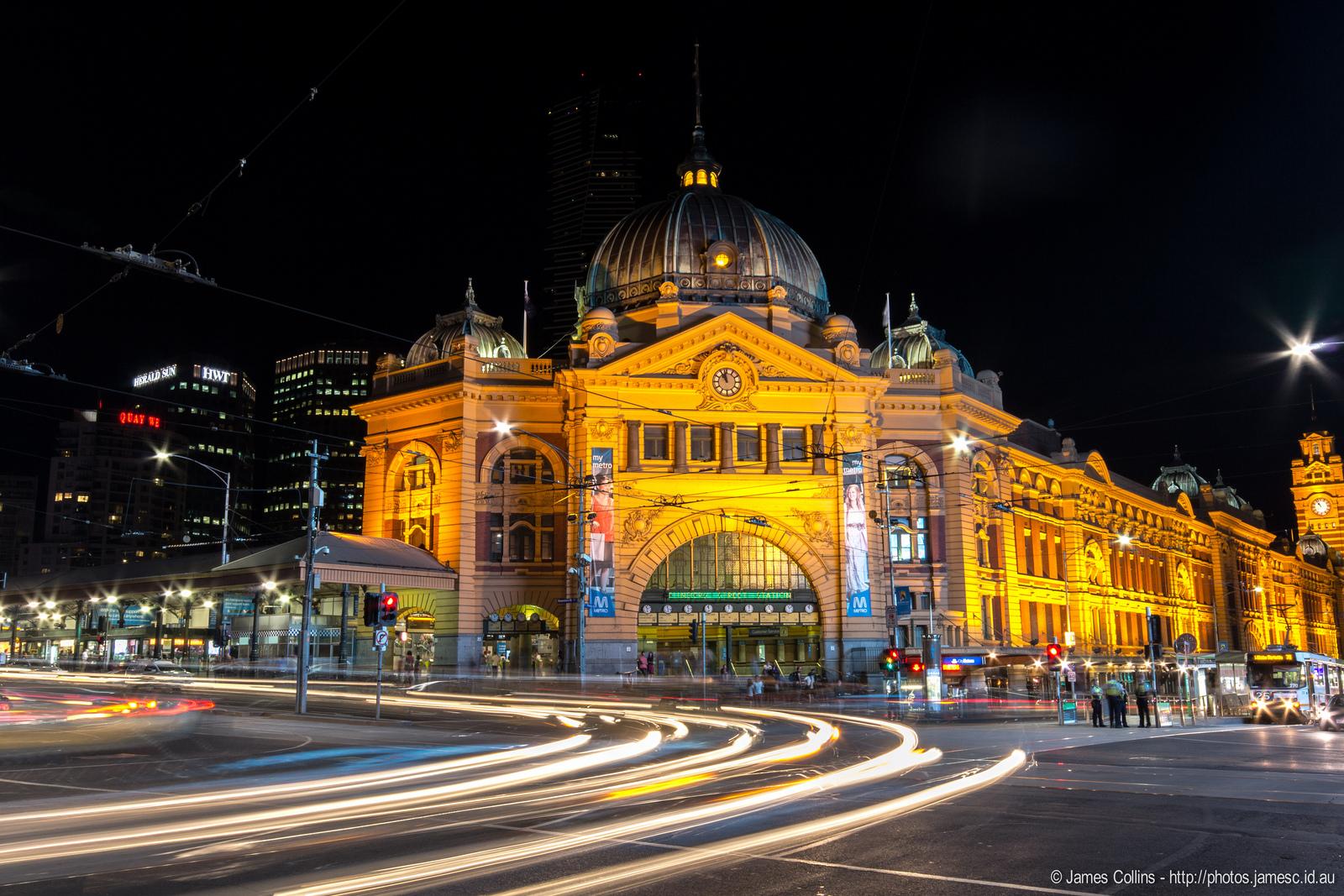 Flinders Street Train Station at Night
